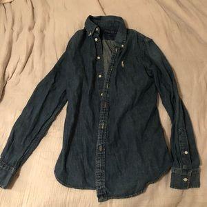 Denim long sleeve button down shirt.